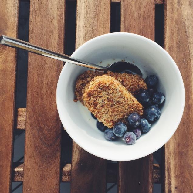 Breakfast: Weetabix, blueberries and Almond Milk
