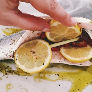 Filling: Lemon, lemon grass, chillies, oregano, garlic, olive oil