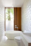 geometric wall in bathroom